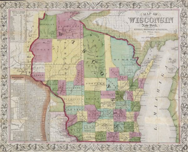 "Map reads, ""Map of Wisconsin"". The map includes the counties, an inset of the city of Milwaukee, total population of each county and of the state. The scale is ten miles per inch."
