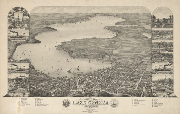 Bird's-eye map of Lake Geneva, looking southwest, with insets of points of interest.