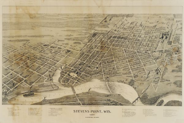 Bird's-eye map of Stevens Point, looking east, with an inset of the Water Works. Wisconsin River in foreground with fifty-three business locations identified in the key below image.