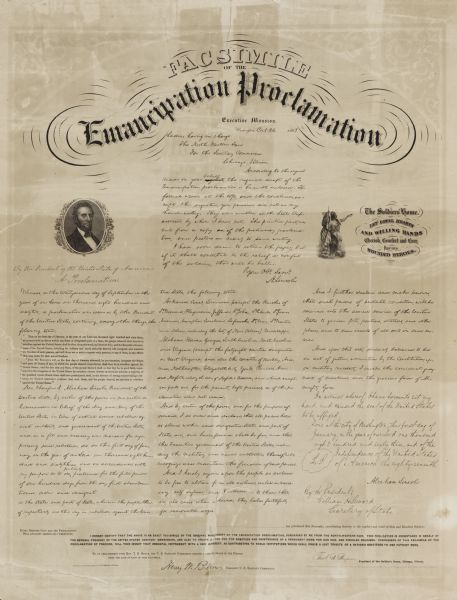 A facsimile of the handwritten document by Abraham Lincoln, with additional decorations, published for the benefit of the United States Sanitary Commission.