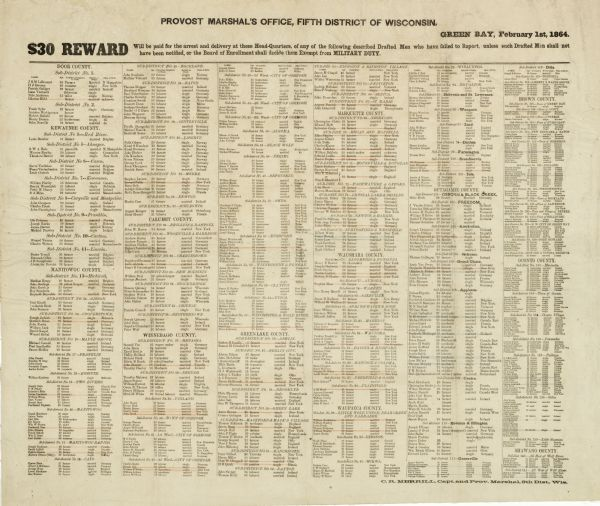 List of Civil War draft-dodgers issued by the Provost Marshal's office, Fifth District of Wisconsin.