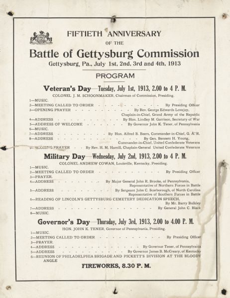 A program of events for the reunion of Union and Confederate veterans, including prayers, music, speeches, and fireworks.