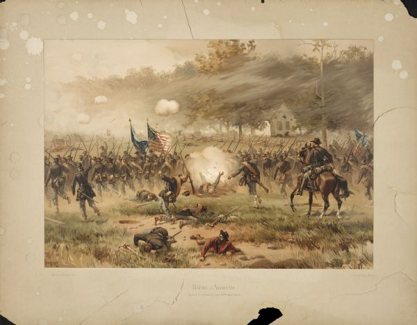 Color lithograph of Union lines in the midst of battle.
