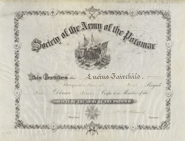 A certificate admitting Lucius Fairchild into the Society of the Army of the Potomac.