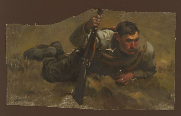 Oil painting of a Confederate Civil War soldier on the ground holding a rifle, created as a preliminary study for the Cyclorama of the Battle of Gettysburg, painted by a group of German painters known as the American Panorama Company, led by William Wehner.