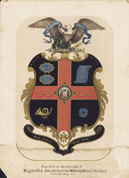 "Crest created by Reynolds Escutcheons of Military and Naval Service to commemorate the 8th Wisconsin Infantry. The crest has the seal of Wisconsin and an eagle at the top with ""E Pluribus Unum"". The eagle also has a ""Union"" shield around its neck. The bottom banner has written on it ""War Eagle"" and ""Old Abe"". The crest also includes pictures of a bugle, a scroll of paper and three other items. The cross-like shape in the middle has a list of battles under the heading: ""Carried on his perch through the following battles""."