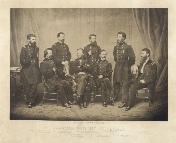Group portrait of Sherman and his generals taken shortly after the Civil War in Mathew Brady's studio. From left to right: Maj. Gen. O.O. Howard, Maj. Gen. J.A. Logan, Maj. Gen. W.B. Hazen, Maj. Gen. Wm. T. Sherman, Maj. Gen. Jeff. C. Davis, Maj. Gen. H.W. Slocum, Maj. Gen. J.A. Mower, Maj. Gen. F.P. Blair. Plate 01
