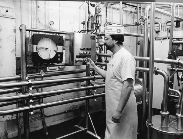 The milk is pasteurized for the first step in the cheesemaking process. Milk is heated to 161 degrees, held at that temperature for 15 seconds, and then cooled down again.