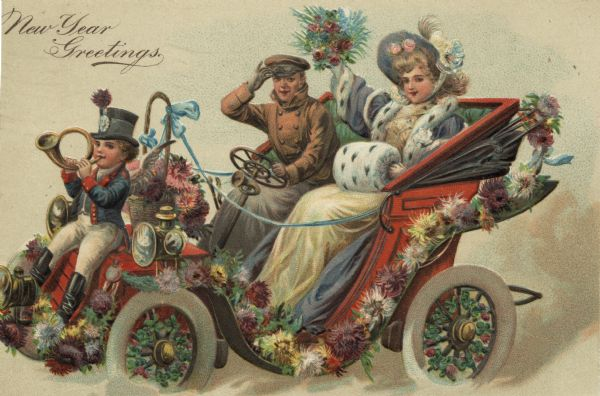"Holiday postcard of a family in a car. It is decorated with flowers, foliage and ribbons. The parents are inside the car, and the son is sitting on the hood and is playing a horn. The mother is wearing a hat, a fur trimmed coat with a matching muff, and holding a bouquet. The father is wearing a driving coat and cap. The son is wearing a top hat, jacket, white pants and black boots. The caption, ""New Year Greetings"" appears in the upper right corner. Chromolithograph printed in Germany. The images are embossed."