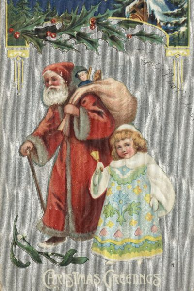 "Holiday postcard of Santa Claus with a walking stick, and a little girl. Santa is wearing a long red fur-trimmed coat and a red hat, and is carrying a sack full of toys. The girl is wearing a pastel patterned dress with mittens, a fur cape and hat, and is ringing a bell. Holly and a bell tower are at the top, and mistletoe is at the bottom. The background is silver ink and the entire card is embossed in such a way that the silver background shimmers. The caption: ""Christmas Greetings"" is at the bottom. Chromolithograph. The postcard was printed in Germany."