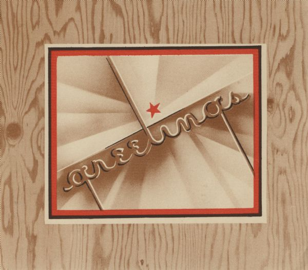 "Holiday card with printed wood grain. A box in the center with a white, brown and red border reads: ""greetings"" with a red star."
