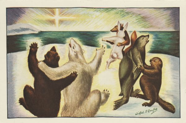"Holiday card with three couples of animals dancing; two bears, a seal and a beaver, a fox and a rabbit. They are on a snowbank overlooking the sea with the Christmas star in the sky. On the back of the card is the note, ""Sold for the benefit of the children of Labrador through Sir Wilfred Grenfell's Medical and Social Service Network""."