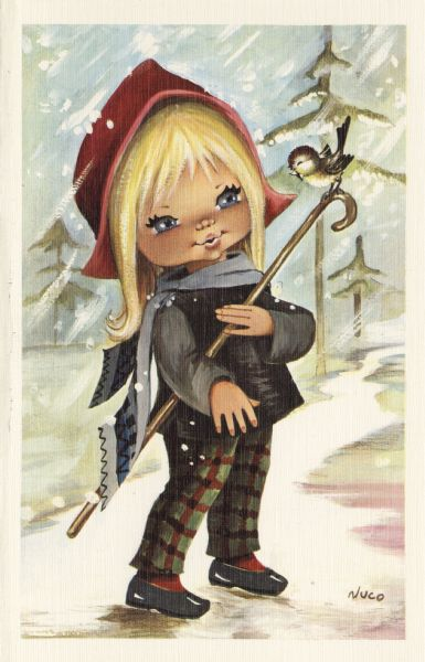 Holiday card with girl dressed for winter. She holds a shepherd's crook with a bird sitting on it. Trees and snow appear in the background.