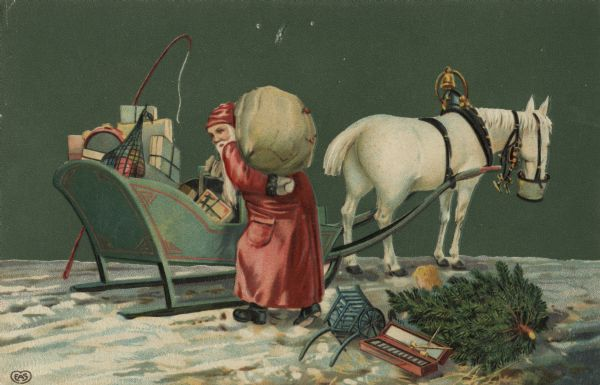 Holiday postcard of Santa Claus loading his sleigh. A single white horse is hitched to the sleigh and is eating out of a nosebag. There is a gold bell on the collar of his harness. Santa is wearing his traditional red suit. Gifts, fruit and musical instruments are in the sleigh. A toy wagon, a xylophone and a pine tree remain on the snow-covered ground. Chromolithograph. Image is embossed.