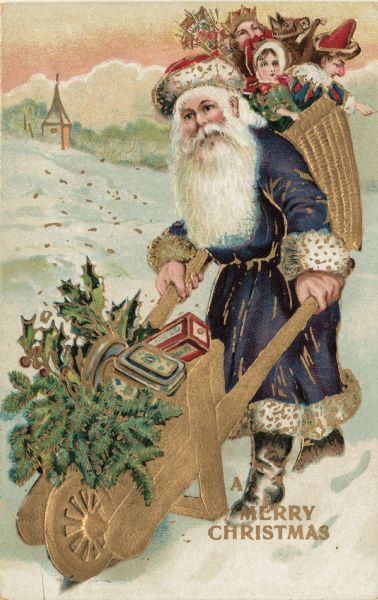 "Holiday postcard depicting the traditional St. Nicholas figure garbed in a long purple fur-trimmed robe, red fur-trimmed hat and boots. He is pushing a wheelbarrow full of gifts, holly and pine boughs, and is wearing a basket on his back full of toys for children. Printed at bottom right: ""A Merry Christmas."" Chromolithograph. The card also has metallic gold ink throughout and is embossed. Printed in Germany."