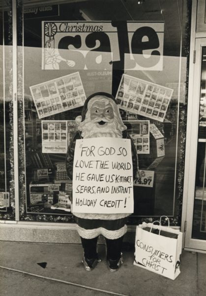 Santa Claus With A Commercial Message Photograph Wisconsin