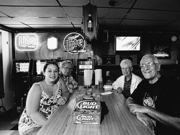 """At NJ's Amanda was our waitress."" From left to right; Amanda, Ralph ""Buddy"" Ruecker, Shirley Widmer, and Richard Yehl."