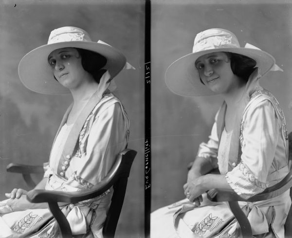 Two studio portraits (side by side on one photographic plate) of Eva Cornellier, seated, from the waist-up, wearing a white dress with embroidery, and a white broad-brimmed hat