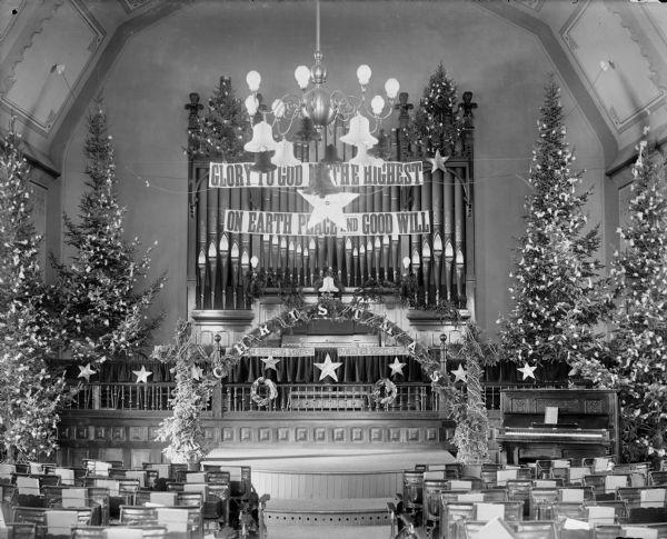 Christmas Decorations On Church Chancel Photograph