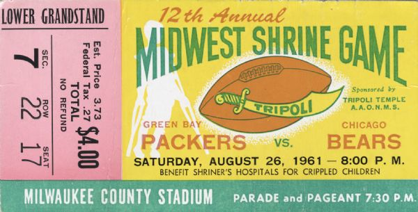 12th Annual Midwest Shrine Game Ticket | Historical Object