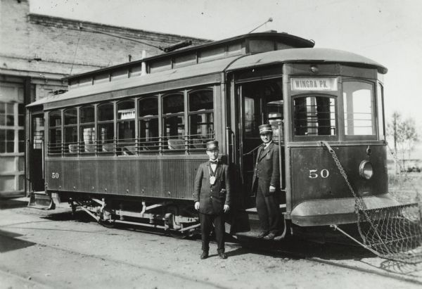 Streetcar and crew of the Madison City Railways Company. The streetcar number is #50 and the route sign says Wingra Park.