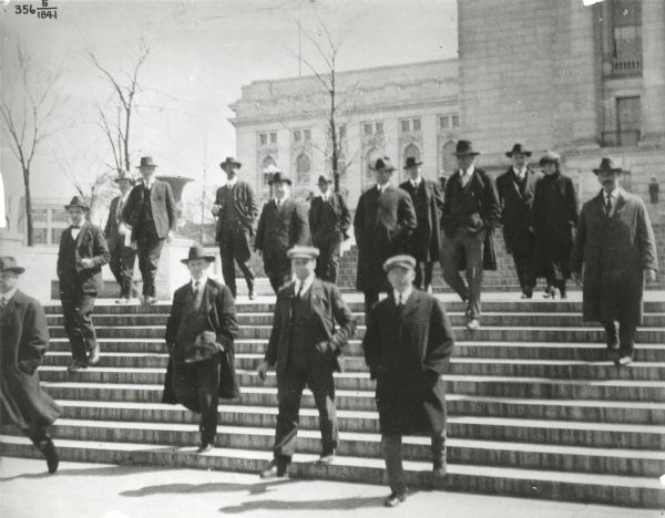 Socialist members of the Wisconsin Legislature leaving the Wisconsin State Capitol at noon.