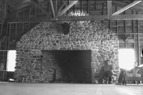 Large Stone Fireplace | Photograph | Wisconsin Historical Society