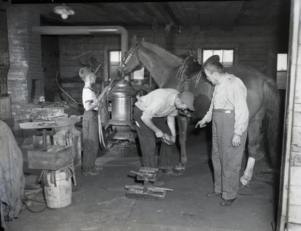 Leander Schierl, Wendelin Schierl, and a young boy inside Schierl's Blacksmith Shop. Leander bends over, shoeing the horse, while his father observes. On the left a young boy holds the horse's reins. Various tools and equipment can be seen, including a bucket of horseshoes, an anvil and hammer, and an old pot bellied stove.
