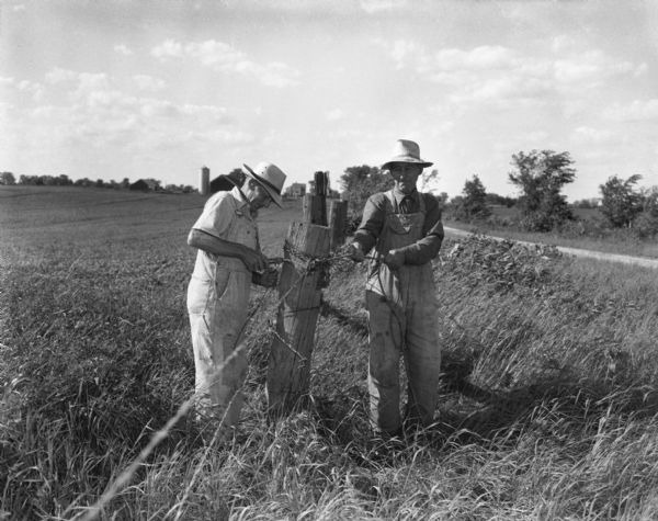 Two farmers in overalls and brimmed hats string barbed wire along a fence next to a field. A dirt road can be seen on the right and a silo and barn are in the far background