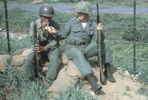 Soldiers Smoking | Photograph | Wisconsin Historical Society