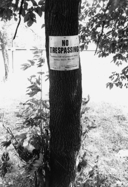 "A sign stapled to a tree on a labor camp that says ""No trespassing/Visitors will be prosecuted under Section 943.13, Wis. State."" This sign was typically used to prohibit union organizers entry to labor camps until the 1968 ruling by the Wisconsin attorney general's office.  This photograph is a part of Wisconsin-native David Giffey's series ""Struggle for Justice,"" images from the migrant farm worker struggle including an independent organizing effort in Wisconsin and the nationwide grape boycott movement started by Cesar Chavez of United Farm Workers during the 1960s and 1970s. Many migrant farm laborers traveled from Texas to Wisconsin in search of seasonal field work.  <p></p>Letrero de ""No Traspasar"" a los campos <p></p>Un letrero grapado a un árbol en un campo laboral que dice ""No traspasar/Visitantes serán acusados bajo la Sección 943.13 de las leyes de Wisconsin"" (""No trespassing/Visitors will be prosecuted under Section 943.13, Wis. Stats.""). Este letrero era típicamente usado para prohibir la entrada en los campos laborales a organizadores de sindicato, hasta el fallo de la oficina del procurador de justicia de Wisconsin en 1968. Esta fotografía es parte de la serie ""Lucha por la Justicia"" tomada por David Giffey, originario de Wisconsin, las imágenes muestran la lucha de los trabajadores agrícolas emigrantes incluyendo un esfuerzo independiente organizado en Wisconsin y el movimiento nacional del boicot de uvas empezado por Cesar Chávez de la unión de campesinos o United Farm Workers durante los años 1960 y 1970."