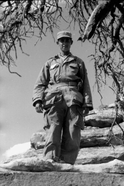 An Algerian National Liberation Front member stands on large boulders near a tree while posing for a photograph.