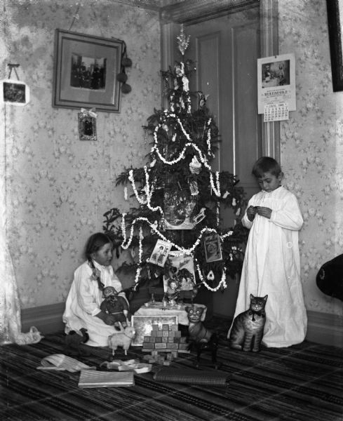 Young children, Jennie and Edgar Krueger, play with toys near their family Christmas tree.