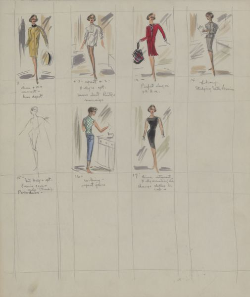 "Seven views of the fronts and backs of Edith Head costume designs in pencil, ink, gouache, and watercolor, including dresses, slacks, raincoats, and tops designed for Audrey Hepburn in ""Breakfast at Tiffany's"" (Paramount, 1961)."