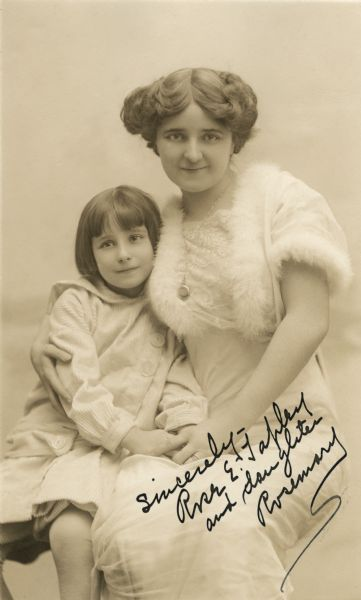 American stage and silent film actress Rose Tapley and her daughter Rosemary Holahan in a studio portrait autographed by Tapley.