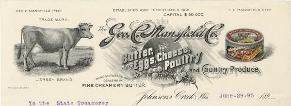 Memohead of the Geo. (George) C. Mansfield Company, a manufacturer and dealer in butter, eggs, cheese, poultry and country produce from Johnsons Creek, Wisconsin. Includes images of a Jersey cow in a pasture, a company logo adorned with an evergreen branch and berries, and a four-color illustration of a round package of Mansfield's Jersey Creamery butter.