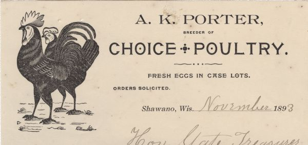 Letterhead of A.K. Porter, a poultry breeder and egg dealer from Shawano, Wisconsin, with an image of a rooster and a chicken. Printed on lined note paper.
