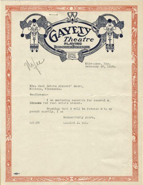 gayety theatre letterhead document wisconsin historical society gayety theatre letterhead