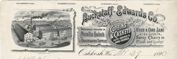 Memohead Of The Buckstaff Edwards Company Of Oshkosh, Wisconsin,  Manufacturers Of Coffins And