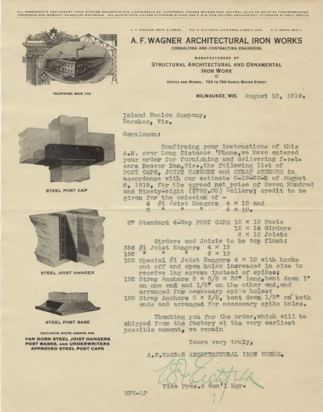 A.F. Wagner Architectural Iron Works Letterhead   Manuscript ...