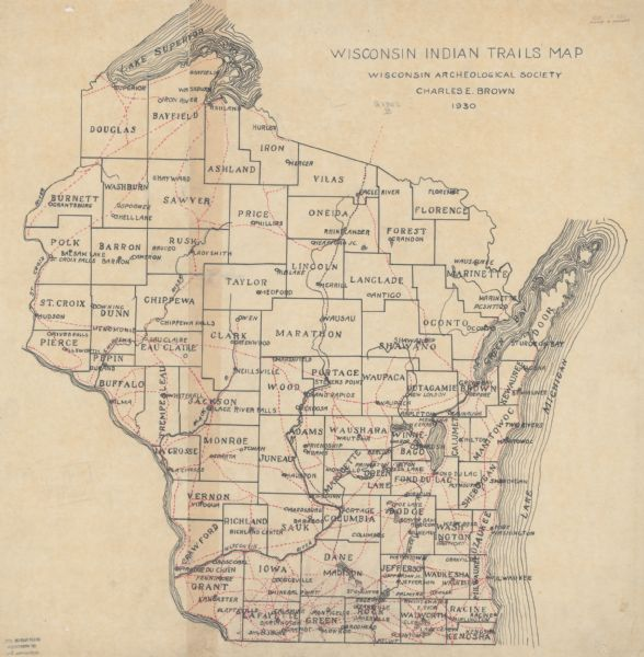 Wisconsin Indian Trails Map Map Or Atlas Wisconsin Historical - Wiscinsin map