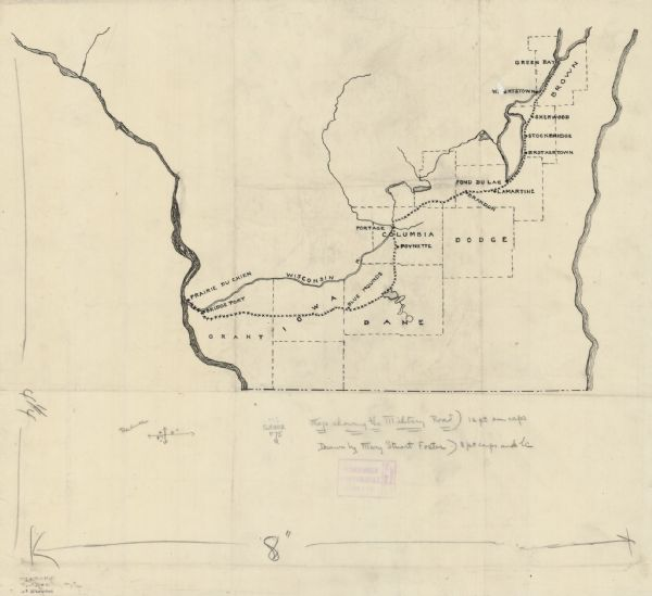 Map Showing The Military Road Map Or Atlas Wisconsin - Road map of wisconsin
