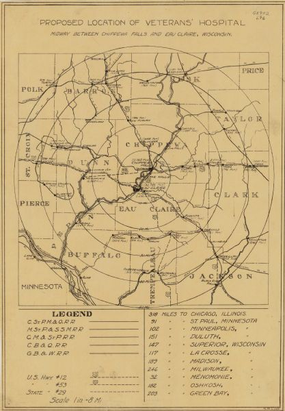 This map produced just after Word War I shows the proposed location for a veterans' hospital in the Eau Claire-Chippewa Falls region. Highways, rail lines and mileage estimates to cities in Wisconsin, Minnesota, and Illinois are shown.