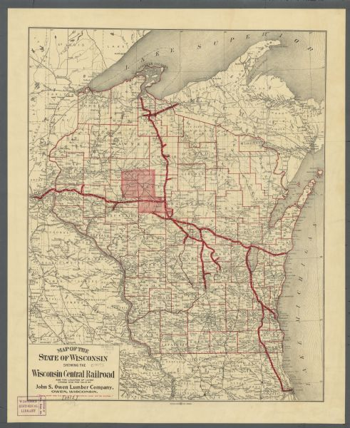 Map Of Wisconsin Showing The Wisconsin Central Railroad And The - A map of wisconsin