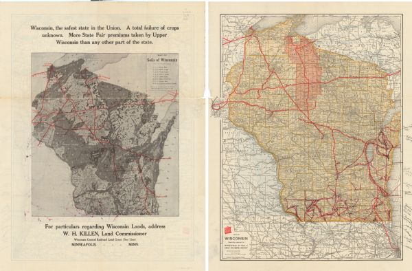 Two maps that show the rail lines of the Minneapolis, St. Paul & Sault Ste. Marie Railway Company in Wisconsin.  The first map shows these lines on the Map of soils of Wisconsin from the state geological report, providing detail on the type of soil in relation to railway lines and towns and cities.  The second map shows these lines on a railroad map of the state, with the land grant lands in Ashland, Bayfield, Iron, Lincoln, Oneida, Price, Rusk, and Taylor counties shaded in red. The maps also show the railways in eastern Minnesota and Iowa, and northern Illinois and Michigan's Upper Peninsula.