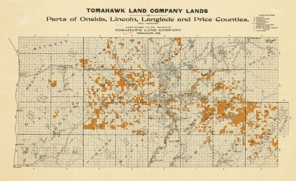 Tomahawk Wisconsin Map.Tomahawk Land Company Lands Map Or Atlas Wisconsin Historical