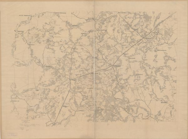 "This map shows roads, railroads, settlements, farms with owners' names, vegetation, streams, and fords in Culpeper County region during the Civil War. A manuscript note reads ""Seat of war in Culpeper and adjacent counties."""