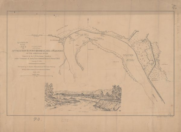 This map illustrates the position of Fort Hindman at Arkansas Post on the Arkansas River. Depicted are the positions of Confederate defenses as well ships on the river. The 23rd Wisconsin Infantry and the 1st Wisconsin Light Artillery were both involved in the battle of Arkansas Post.