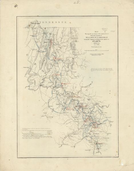 This map of northwestern Georgia shows dates and troop positions between Chattanooga, Tennessee, and Jonesboro, Georgia, May-September, 1864. Wisconsin units involved in military actions in this theater included the 1st Wisconsin Cavalry, 5th Wisconsin Light Artillery, 10th Wisconsin Light Artillery, 1st Wisconsin Infantry, 3rd Wisconsin Infantry, 10th Wisconsin Infantry, 12th Wisconsin Infantry, 15th Wisconsin Infantry, 16th Wisconsin Infantry, 17th Wisconsin Infantry, 21st Wisconsin Infantry, 22nd Wisconsin Infantry, 24th Wisconsin Infantry, 25th Wisconsin Infantry, 26th Wisconsin Infantry, 31st Wisconsin Infantry, and 32nd Wisconsin Infantry.