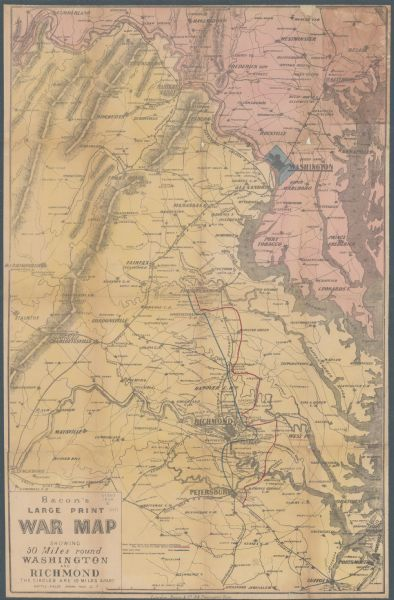Bacons Large Print War Map Showing 50 Miles Round Washington and